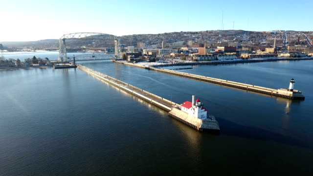 Scenic view of the harbor at Duluth video