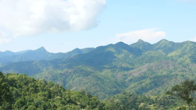 Scenic View of Tropical Mountains and Blue Sky with Moving Clouds video
