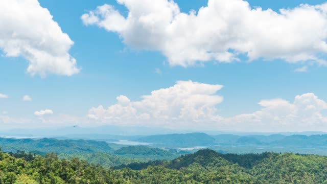 Scenic View of Tropical Mountains and Blue Sky with Moving Clouds. Time Lapse Video video