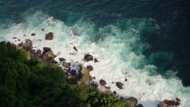 Scenic view of waving sea  on Nusa Penida