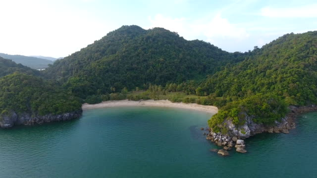 Scenic View of White Beach with Sunlight, Aerial video Scenic View of White Beach with Sunlight, Aerial video indian ocean stock videos & royalty-free footage