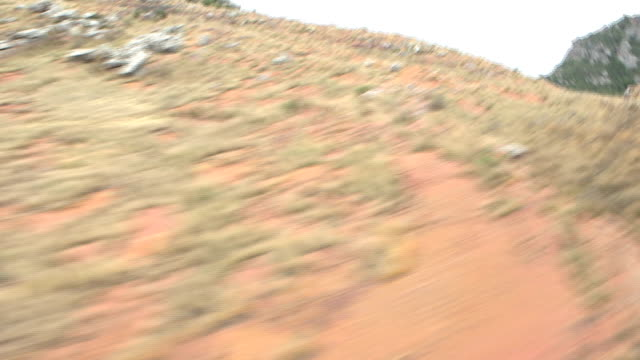 Scenics of South African mountain from helicopter video