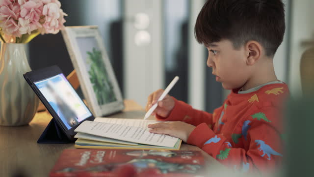 School boy e-learning. Child learning reading from online class. Distance learning. Online education. Boy does homework with help of modern technologies for children watching remote lesson. Little boy attending to online school class. video
