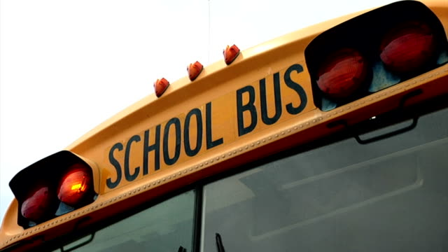 School Bus Front Lights Blinking video
