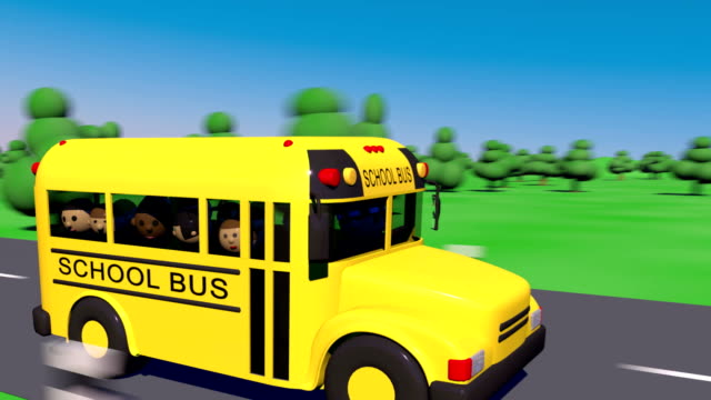 school bus goes to school. the bus carries children to school. - school buses stock videos and b-roll footage
