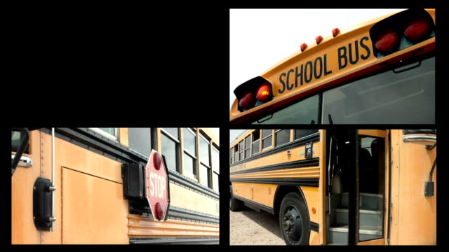 School Bus Montage of 5 Different Views – Video