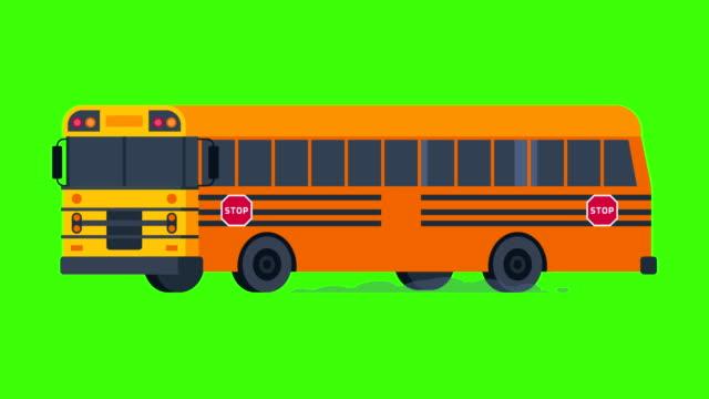 schulbus fährt mit blaulicht auf. transparenten hintergrund. - drive illustration stock-videos und b-roll-filmmaterial