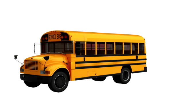 School Bus spin isolated with luma matte video