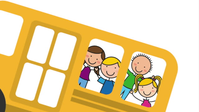 School bus with children, Video Animation video