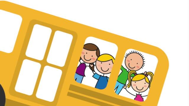 Schulbus mit Kindern, Video Animation – Video