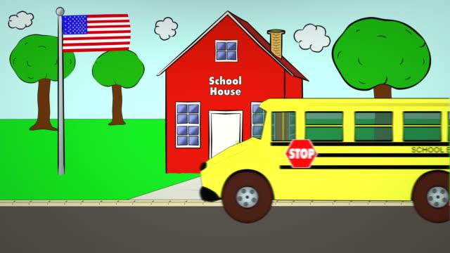 School Bus-SchoolHouse-DropOff video