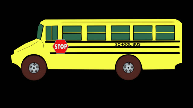 School Bus-Traveling-Alpha-Transparent Background video