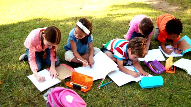 School children doing homework on grass video