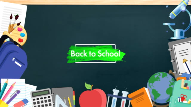 School concept icons against back to school text on blackboard Animation of words Back to School on green with globe, apple, calculator and multiple school items moving on chalkboard. Education back to school and schooling concept digitally generated image. school supplies stock videos & royalty-free footage