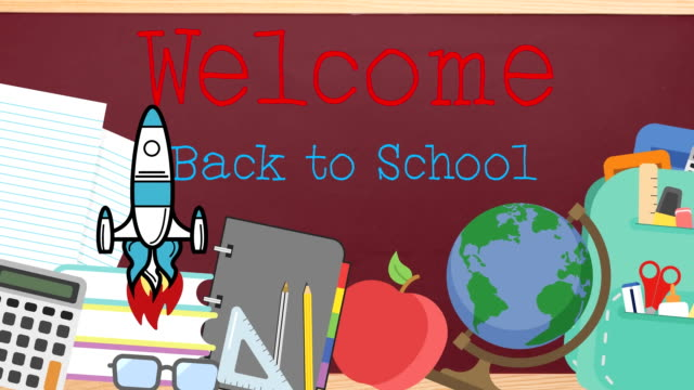 School concept icons against welcome back to school text