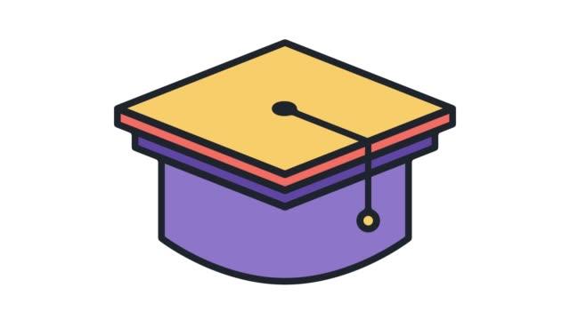 okul mezuniyet düz çizgi simgesine animasyon alpha ile - kep şapka stok videoları ve detay görüntü çekimi