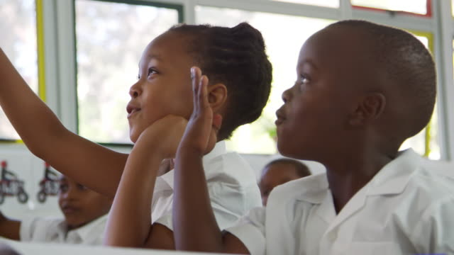 school kids counting out loud in an elementary school class - bambine africa video stock e b–roll