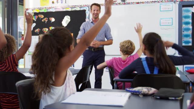 School kids raising hands in an elementary school class video