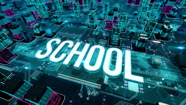School with digital technology concept