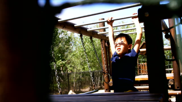 Schoolboy playing on monkey bar in playground video