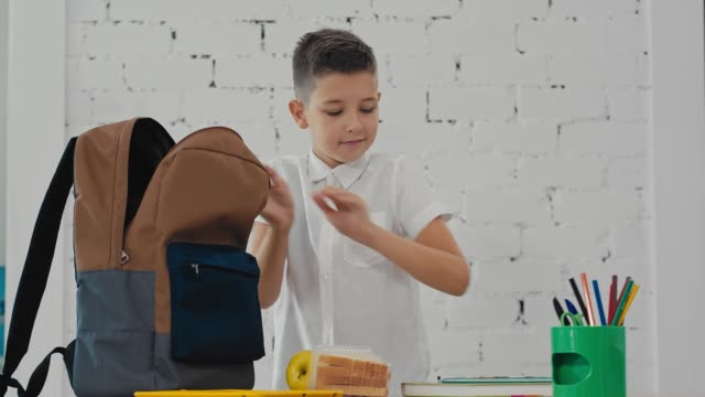 schoolboy puts in a backpack, textbooks, exercise books, lunch. back to school. - scolaro video stock e b–roll