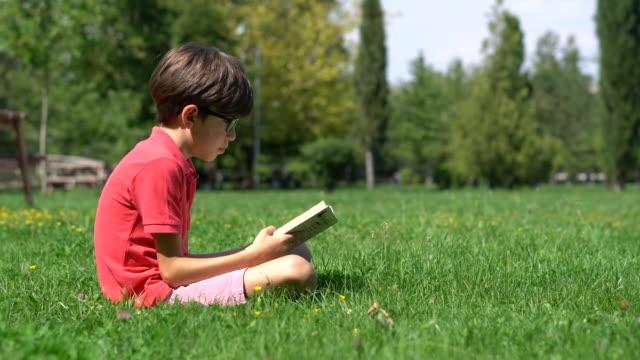 모범생 잔디에 책을 읽고 - reading 스톡 비디오 및 b-롤 화면