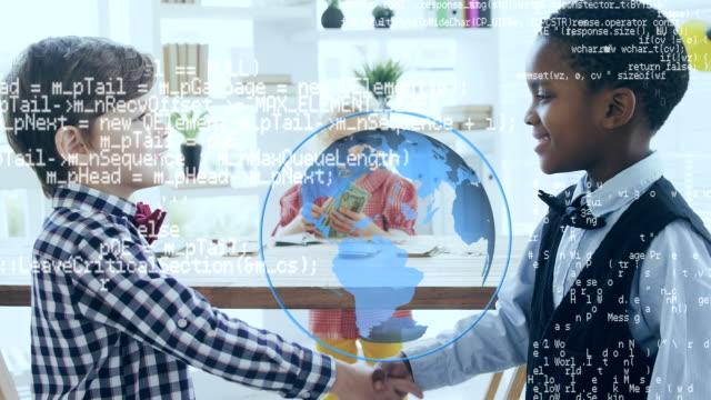 schoolboys skakar hand med globe och data flyttar - moods vector boy bildbanksvideor och videomaterial från bakom kulisserna