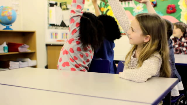 Schoolgirl raises hand video