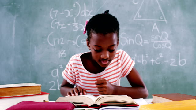 Schoolgirl reading book in classroom video