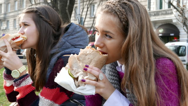 Schoolgirls having lunch video