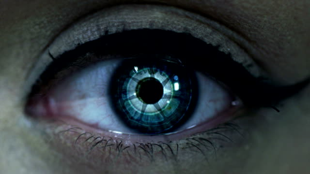 sci fi eye macro shot of eye with sci fi postproduction cyborg stock videos & royalty-free footage