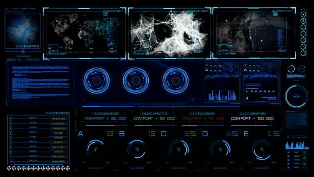 Sci FI HUD hologram contol interface video