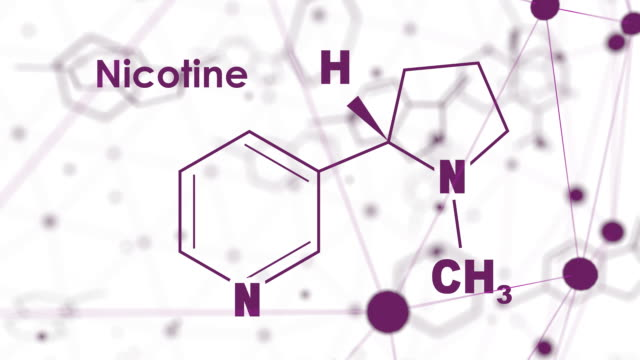 Science and education concept Chemical molecular formula of nicotine. Connected lines with dots background physiology stock videos & royalty-free footage