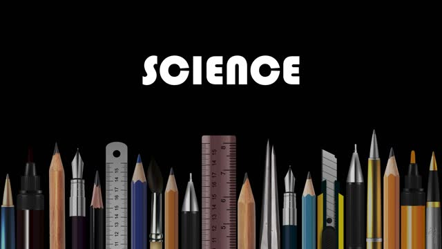 Science, Stop Motion Animation of Wooden Pencils, Pens, Measure, Pair of Compasses, Brush, Fountain-Pen,  Abstract Conceptual Image, Contemporary Art, Bright Idea, Opinion, Solution, Philosophy, Back to School