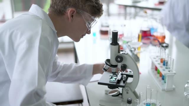 Science student observe slides under microscope