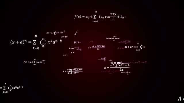 Scientific 3d background with physical and mathematical task solutions, formulas in space Scientific 3d background with physical and mathematical task solutions, formulas in space, 3d computer generated backdrop complexity stock videos & royalty-free footage