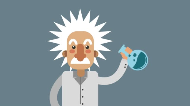 Scientific with laboratory flask HD animation video
