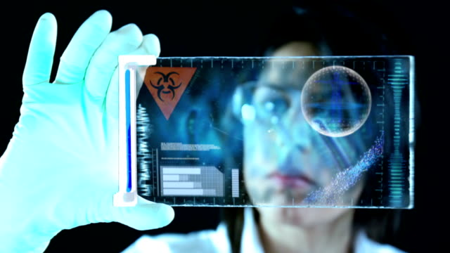 Scientist classifying sample in a laboratory video