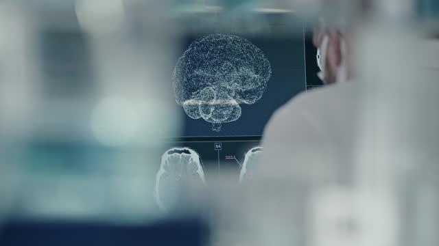 vídeos de stock e filmes b-roll de scientist in laboratory. brain models research on computer screens - instrumento para diagnóstico