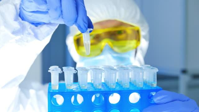 vídeos de stock, filmes e b-roll de cientista na roupa protetora que verific materiais perigosos em tubos de ensaio no laboratório. - amostra científica