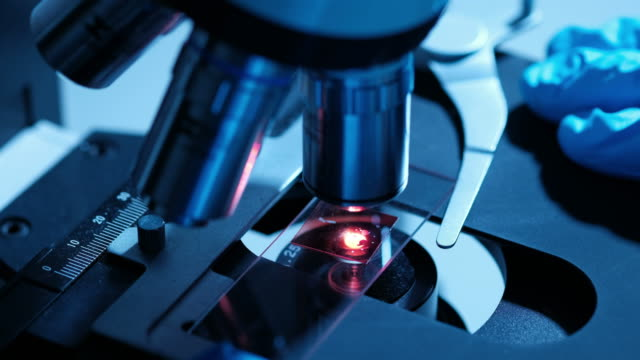 Scientist is using with microscope in bio laboratory