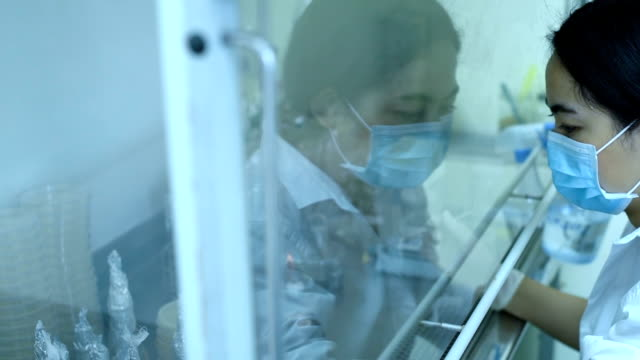 Scientist works experiment medicine research in laboratory video