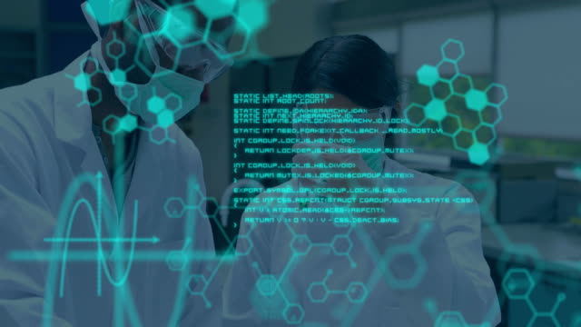 Scientists working in a lab while blue data moves in foreground Animation of two scientists seen from the waist up doing an experiment in a laboratory, while glowing blue scientific data and diagrams move in the foreground biochemistry stock videos & royalty-free footage