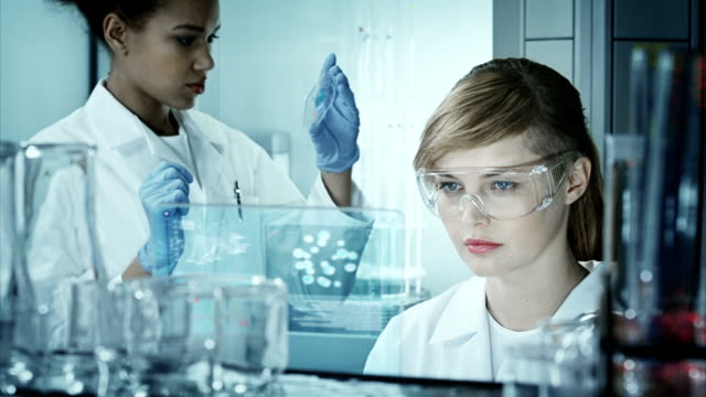 Scientists working in a research laboratory video