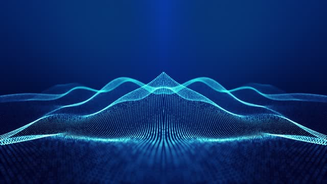 Sci-fi abstract theme with particle mirror waves. 4k looped abstract blue background of glow particles form curved lines, surfaces simmetrical structures. Digital bg with particle hologram. video