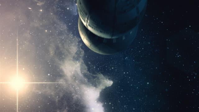 Sci-fi-animation. Raumschiff fliegt in der Welt. – Video