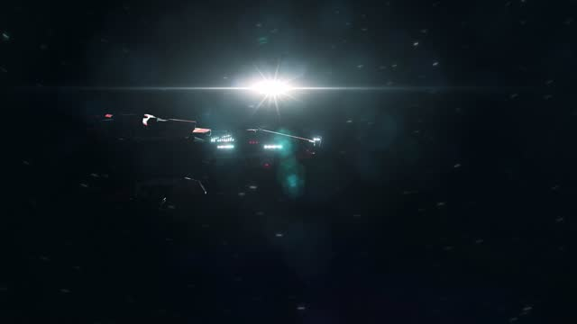 Sci-Fi Battle Cruiser Spaceship Spinning by as it Approaches Planet Earth video