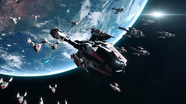 Sci-Fi Battleship Fleet in Earth Orbit video