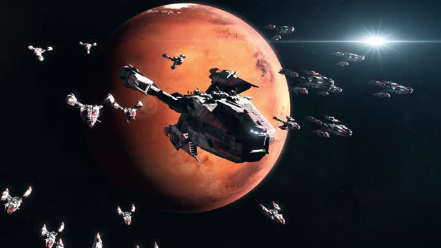 Sci-Fi Battleship Fleet in Mars Orbit video