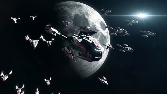 Sci-Fi Battleship Fleet in Moon Orbit video